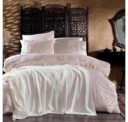 Набор с вязаным покрывалом Zebra Casa Rosy krem