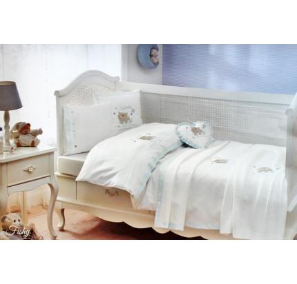 Детское постельное белье в кроватку Tivolyo Home Fishy (голубой)
