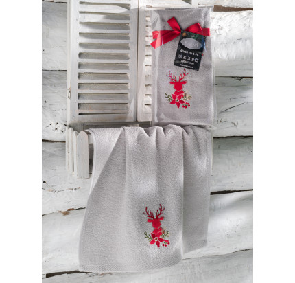 Новогоднее полотенце-салфетка Karna Noel (серый) V3 40x60