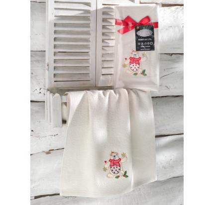 Новогоднее полотенце-салфетка Karna Noel (кремовый) V1 40x60