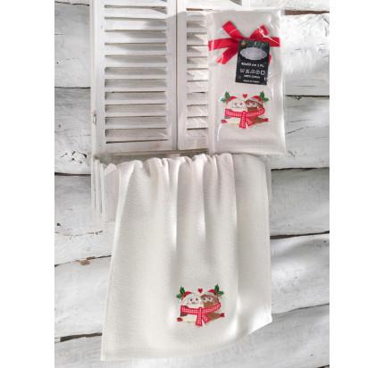 Новогоднее полотенце-салфетка Karna Noel (кремовый) V2 40x60