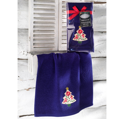 Новогоднее полотенце-салфетка Karna Noel (синий) V3 40x60