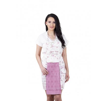 Фартук Karna с салфеткой из велюра (грязно-розовый)