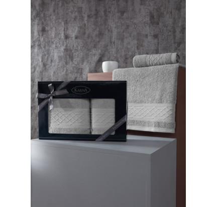 Набор полотенец Karna Gravit (серый, 2 предмета)