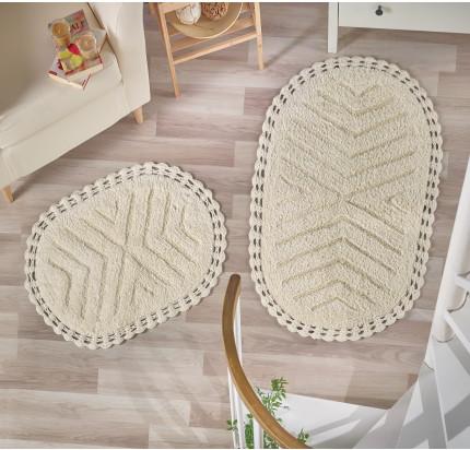 Набор ковриков для ног Modalin Cross (кремовый) 50x70+60x100