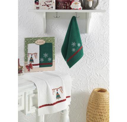 Салфетки махровые с вышивкой Karna Noel V3 (30x50, 2 предмета)