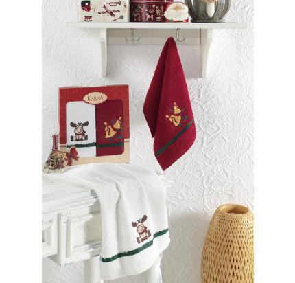 Салфетки махровые с вышивкой Karna Noel V4 (30x50, 2 предмета)