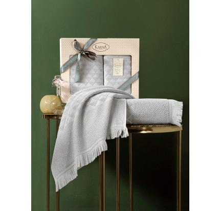 Набор полотенец Karna Monard (светло-серый, 2 предмета)