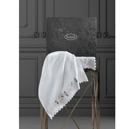 Набор полотенец Karna Amora (кремовый, 2 предмета)