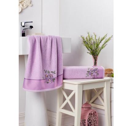 Набор полотенец Karna в коробке Florya (сиреневый, 2 предмета)