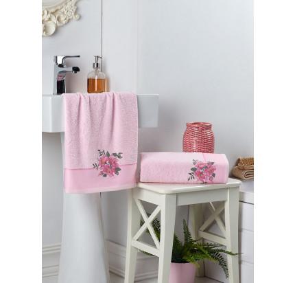 Набор полотенец Karna в коробке Florya (розовый, 2 предмета)