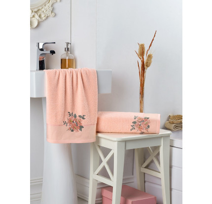Набор полотенец Karna в коробке Florya (абрикосовый, 2 предмета)