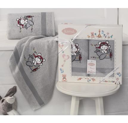 Набор полотенец Karna Bambino Samalot (2 предмета, серый)
