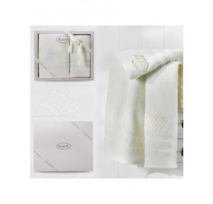 Набор полотенец Karna Derin (кремовый, 2 предмета)