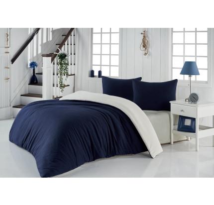 Постельное белье Karna Sofa (синий-кремовый)