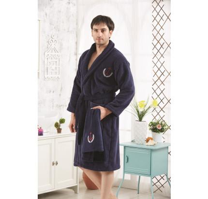 Набор халат + полотенце Karna Marine (синий)