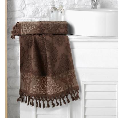 Полотенце Karna Ottoman (темно-коричневое)