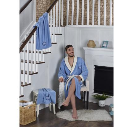 Набор халат + полотенца Karna Adra 3 предмета (голубой)