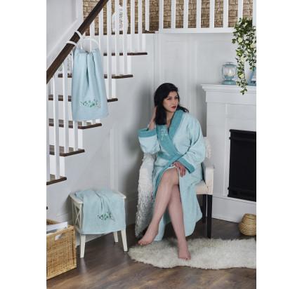 Набор халат + полотенца Karna Adra 3 предмета (ментол)