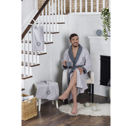 Набор халат + полотенца Karna Adra 3 предмета (серый)