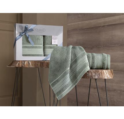 Набор полотенец Karna Ladin (хаки зеленый, 2 предмета)