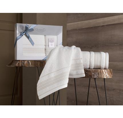 Набор полотенец Karna Ladin (кремовый, 2 предмета)