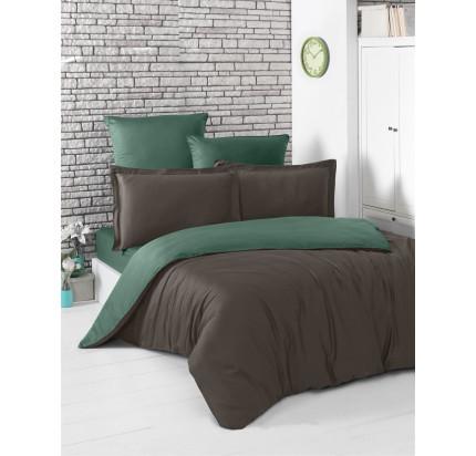 Постельное белье Karna Loft (шоколадный-зеленый)