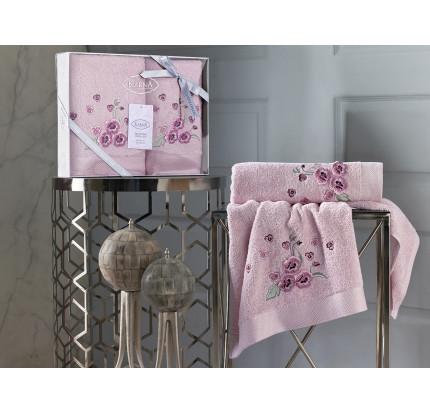 Набор полотенец Karna Malinda (розовый, 2 предмета)