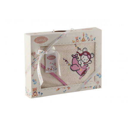 Полотенце-конверт Karna Bambino Samalot (2 предмета, молочный)