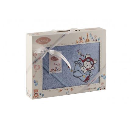 Полотенце-конверт Karna Bambino Samalot (2 предмета, голубой)