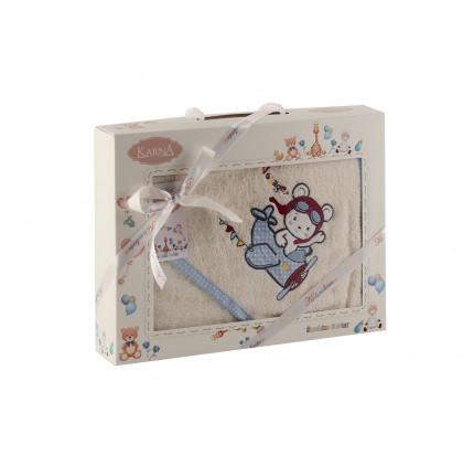 Полотенце-конверт Karna Bambino Samalot (2 предмета, кремовый)
