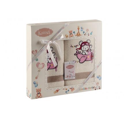 Набор полотенец Karna Bambino Samalot (2 предмета, молочный)