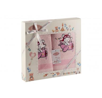 Набор полотенец Karna Bambino Samalot (2 предмета, розовый)