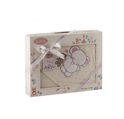 Полотенце-конверт Karna Bambino Slon (2 предмета, молочный)