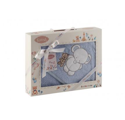 Полотенце-конверт Karna Bambino Slon (2 предмета, голубой)