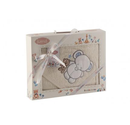 Полотенце-конверт Karna Bambino Slon (2 предмета, кремовый)