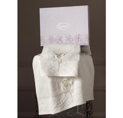Набор полотенец Karna Lilyan (кремовый, 2 предмета)