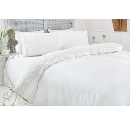 Свадебное постельное белье Esma (белое) евро