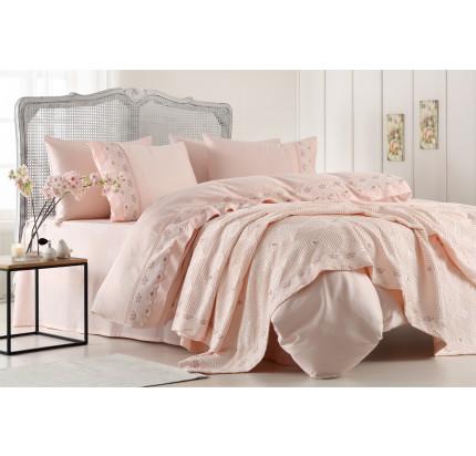 Набор постельного белья с покрывалом Gelin Home Gulcicek (персиковый) евро