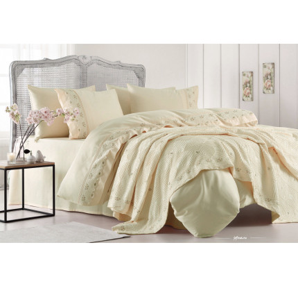 Набор постельного белья с покрывалом Gelin Home Gulcicek (шампань) евро
