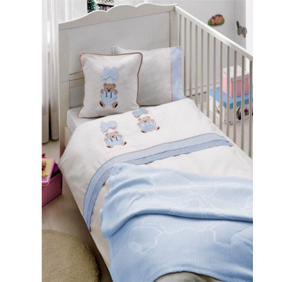 Детское белье в кроватку + вязаное покрывало Gelin Orgu (голубой)