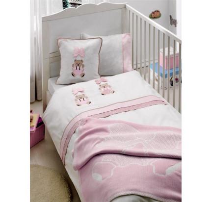 Детское белье в кроватку + вязаное покрывало Gelin Orgu (розовый)