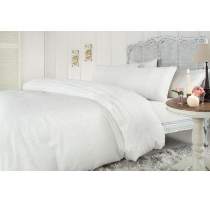 Свадебное постельное белье Selina Jakarli (белое) евро