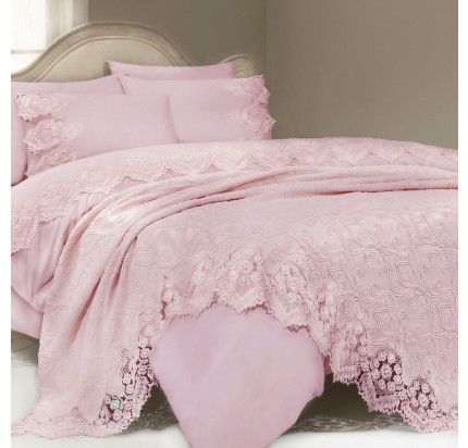 Набор постельного белья с покрывалом Gelin Home Donna Delux (розовый) евро