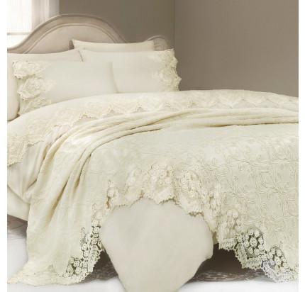 Набор постельного белья с покрывалом Gelin Home Donna Delux (шампань) евро