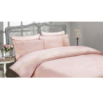 Свадебное постельное белье Gelin Home Gulru (грязно-розовый) евро