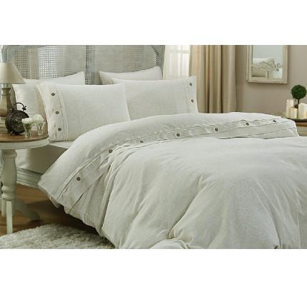 Свадебное постельное белье Gelin Home Keten (кремовое) евро