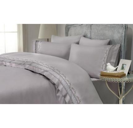 Свадебное постельное белье Gelin Home Mimoza (серый) евро