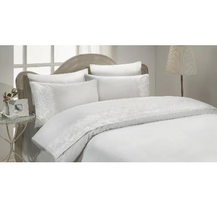 Свадебное постельное белье Gelin Home Pelin (белое) евро