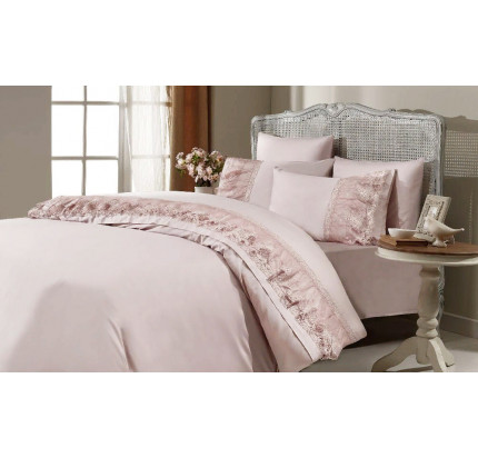 Свадебное постельное белье Gelin Home Rihanna (розовое) евро